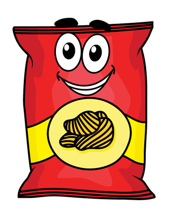 snacks: Cartoon happy cute potato chips packet character for fastfood  and snack design