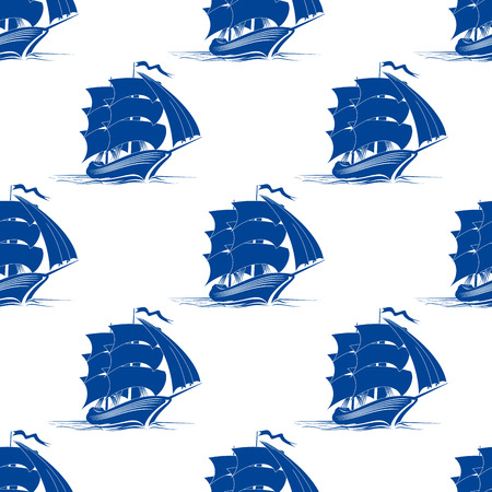 Seamless pattern of medieval sailing ship for marine or travel design