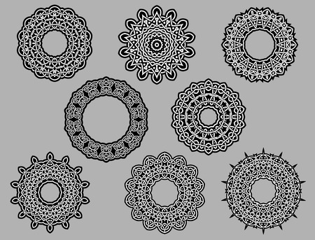 Circle vintage vignette lace ornament black and white isolated on gray background Vector