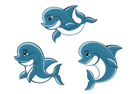 Cute cartoon blue dolphins characters for fairytale or wildlife design Vector