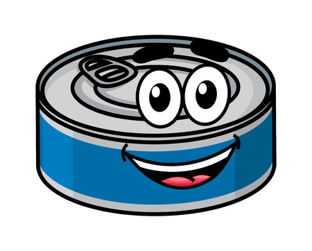 tinned: Cartoon happy cute tin can character isolated on white background