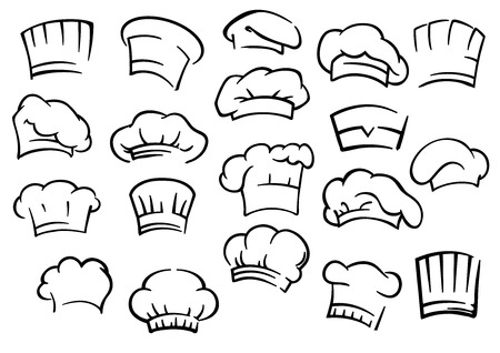 Chef toques and hats set isolated on white for restaurant, cafe and menu design Vectores