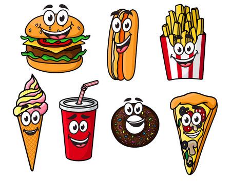 Gelukkig kleurrijke afhaalrestaurant cartoon voedsel met leuke lachende gezichten, waaronder een cheeseburger, hotdog, frietjes, ijsje, frisdrank, bagel of donut en stuk pizza