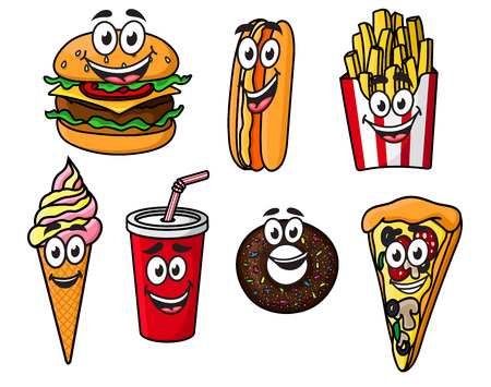 eating fast food: Happy colorful takeaway cartoon food with cute smiling faces including a cheeseburger, hot dog, French fries, ice cream cone, soda, bagel or doughnut and slice of pizza