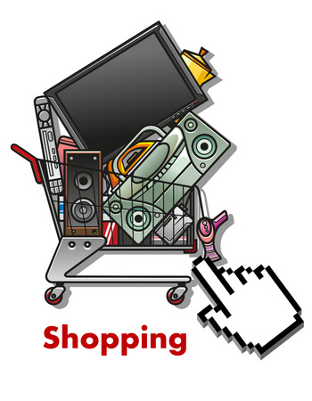 home shopping: Shopping cart symbol with cursor and full shopping cart with household appliances, for business, web and internet design