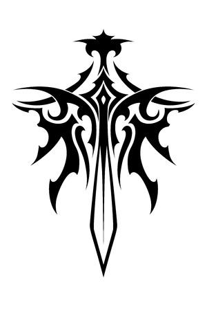 환상과 문신 디자인에 날개 날카로운 칼 부족 스타일 스톡 콘텐츠 - 31716624