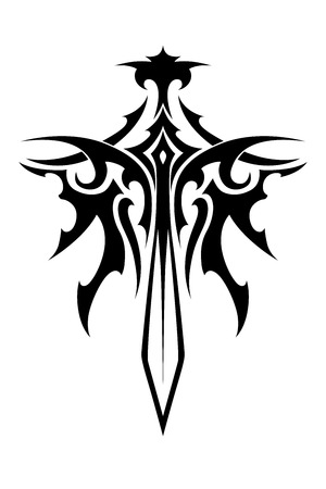 Winged sharp sword tribal style for fantasy and tattoo design Vector