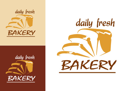 Slices of bread as bakery emblem or logo, three variants with beige, brown and white colored background Vector