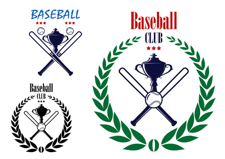 Retro baseball sport club emblem with laurel wreath, bat, trophy cup and ball for team symbol, sporting or leisure design Vector