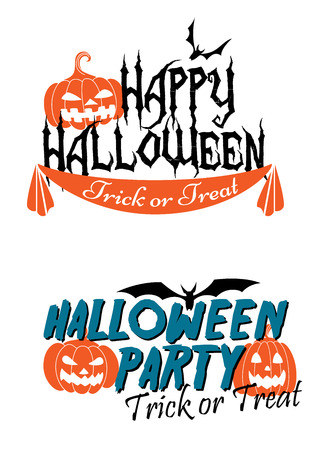 tremendous: Happy Halloween themed graphics with pumpkins and flying bats
