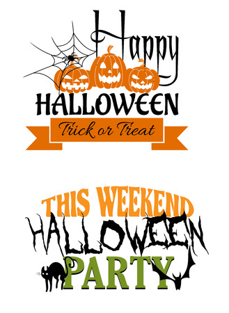 Two Halloween party designs, one saying Happy Halloween Trick or Treat with pumpkin lanterns and a spider, the other Halloween Party with a cat and bat Vector