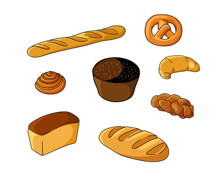 Set of cartoon bread bakeries with bread, pretzel, muffin, croissant and baguette Vector