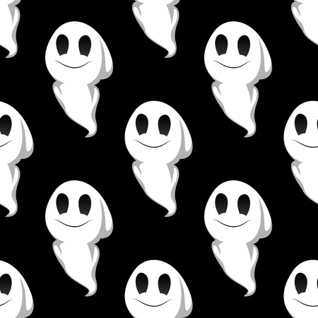 poltergeist: Cartoon cute smiling ghosts seamless pattern background for Halloween party design Illustration