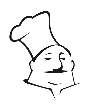toque: Cartoon chef in a traditional toque for restaurant and cafe design Illustration