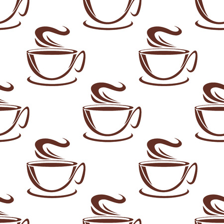 Hot steaming coffee cups seamless pattern background for cafe or restaurant menu design Vector