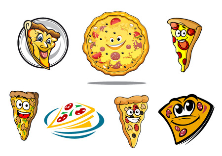 Colorful cartoon pizza characters and icons with whole pizza, various slices with happy smiling faces and a stylized doodle sketch slice on a plate, vector illustration Vector