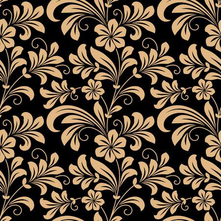 Modelo inconsútil floral con flores de oro sobre rojo oscuro en formato cuadrado para el papel pintado, diseño de fondo Foto de archivo - 31716988