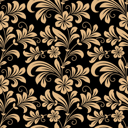 Floral seamless pattern with gold flowers on dark red in square format for wallpaper, background design