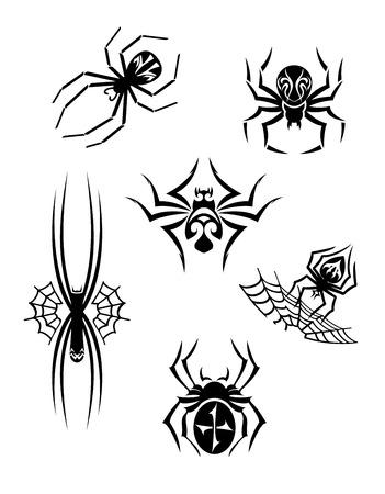 aracnidos: Ara�as negro peligro o ar�cnidos establecidos para el tatuaje o otro dise�o