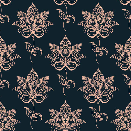 indigo: Pink paisley seamless floral pattern on dark indigo colored background. Suitable for wallpaper and textile design Illustration
