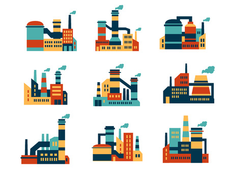 Flat industrial buildings and factories icons isolated on white background for infographics and industry design Illustration