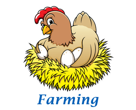 Cartoon happy hen character with eggs in the nest for farming and Easter holiday design Vector