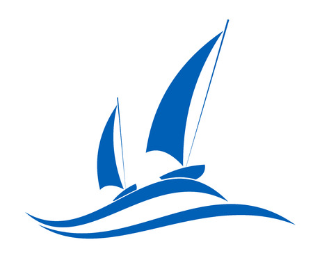 Sailing or yachting sport emblem for nautical tourism and yachting sports design