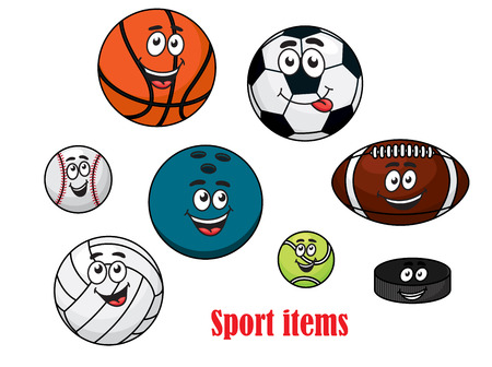 Cartoon happy sport ball characters with volleyball, rugby, tennis, bowling, soccer, basketball, baseball balls and ice hockey puck Vector