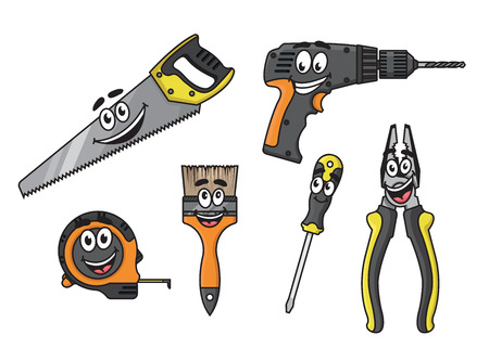 Cartoon happy diy tools characters with drill, ruler, screwdriver, pliers, brush and saw