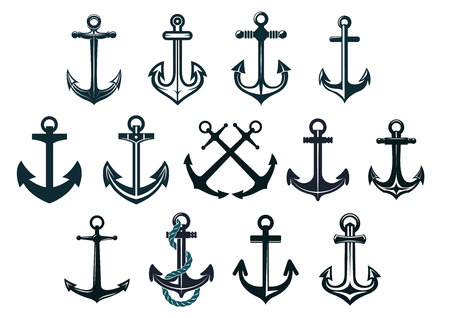 MARITIME: Antique and vintage marine anchors set isolated on white for marine and heraldry design