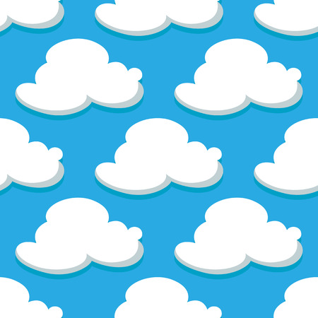 Seamless pattern of sky with cartoon clouds on blue background. For wallpaper, textile and fabric design Illustration