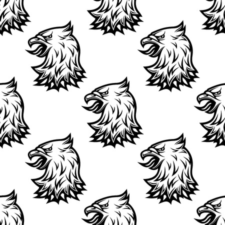 Stylized black eagle seamless pattern in tribal vintage style for heraldry design Illustration