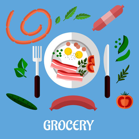 Cooked breakfast with fried eggs and bacon served on a plate with cutlery surrounded by assorted groceries and the word Grocery. Flat design Vector