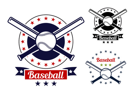Red and black colored Baseball sport team badges for sport logo and emblem design