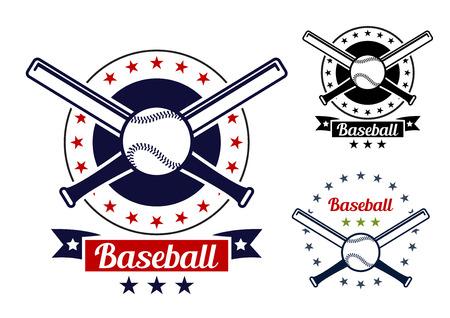 Red and black colored Baseball sport team badges for sport logo and emblem design