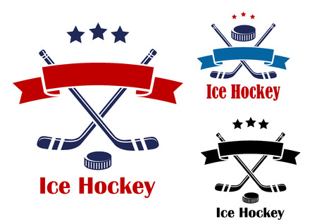 hockey stick: Red and blue colored ice hockey banners or emblems with  puck, sticks and ribbon for sport design
