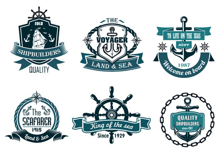 파란색 항해 및 항해 선박, 앵커, 로프, 스티어링 휠과 리본 배너 나 아이콘 테마