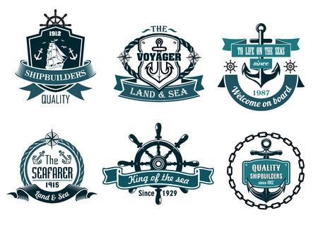 Blauw nautische en zeilen thema banners of pictogrammen met schip, anker, touw, stuurwiel en linten