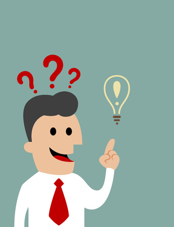 inquiring: Cartoon inquiring businessman pointing upwards toward a light bulb, concept of creative ideas and intelligence