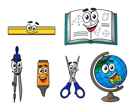 Happy cartoon school supplies with globe, book, scissors, ruler, marker and compasses Vector
