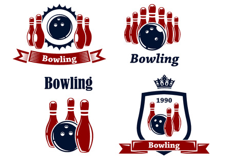 Sporting bowling heraldic emblems and symbols in retro style with ball, ninepins, banner and crown Vector
