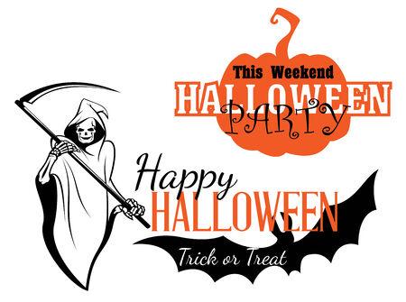 guadaña: Feliz invitación de Halloween fiesta con calabazas, murciélagos volando, esqueleto de la muerte sosteniendo guadaña y truco o signos