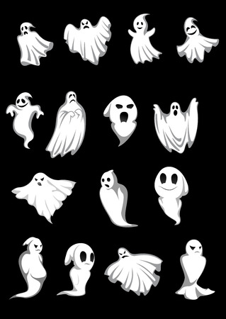 ghost cartoon: White Halloween ghosts and poltergeist on black background, for scary, fear or danger concept design Illustration