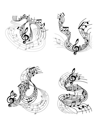 bass clef: Abstract twisted musical compositions design with music waves, notes and treble clef