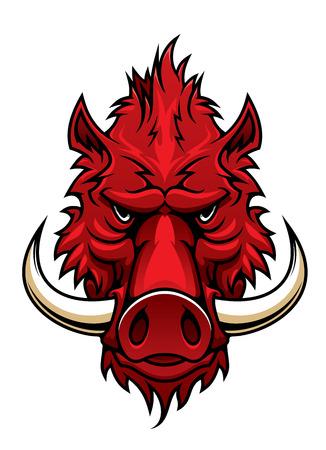 jabali: Cabeza de jabalí Red para el tatuaje, mascota del equipo deportivo o diseño de la fauna