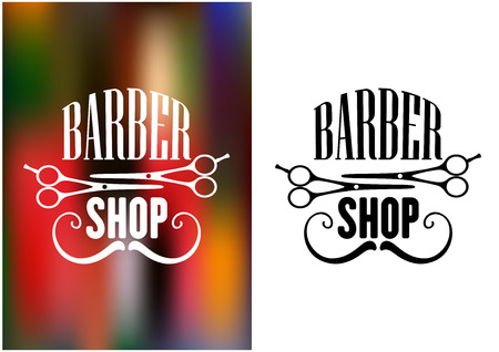 barber: Barber shop icon, emblem or label with moustache and scissors silhouettes for service industry design