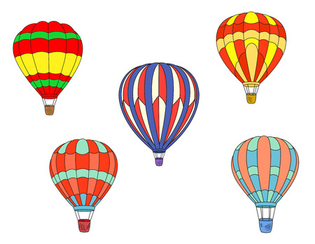 Colorful striped hot air balloons isolated on white background for travel and tourism design