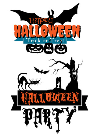 Happy Halloween party banners with pumpkins, flying bat, black cat, tombstone and trick or treat signs Vector