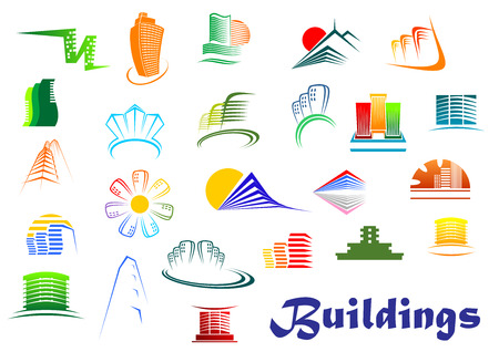 Offices and residential buildings icons in modern style depicting urban office, apartment blocks and high-rise architecture Vector