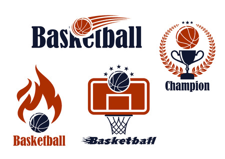 basketball hoop: Basketball sport team emblems and symbols in retro style for sporting design Illustration